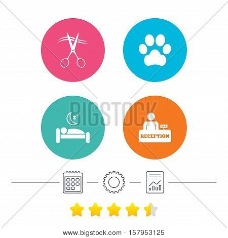 Hotel services icons. With pets allowed in room signs. Hairdresser or barbershop symbol. Reception registration table. Quiet sleep. Calendar, cogwheel and report linear icons. Star vote ranking