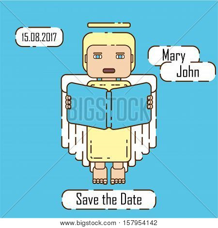 Save the Date card template in modern style. Stock vector wedding invitation with an angel holding a book and boxes for your text.