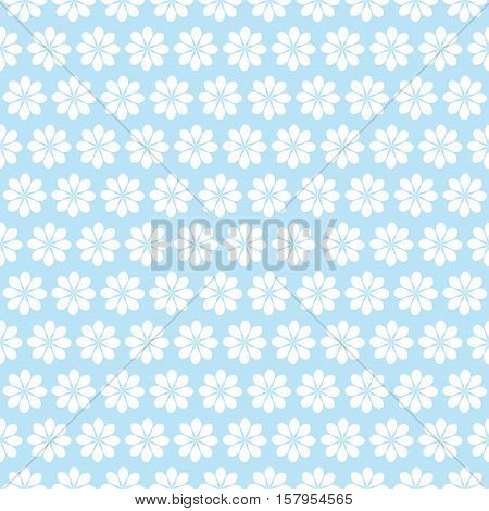 floral seamless pattern white flowers on blue background.