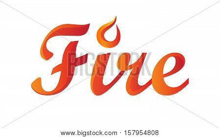 Fire word isolated on white backgroud. Stock vector illustration of letters in red orange gradient with flames element.