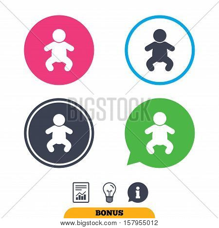 Baby infant sign icon. Toddler boy in pajamas or crawlers body symbol. Child WC toilet. Report document, information sign and light bulb icons. Vector