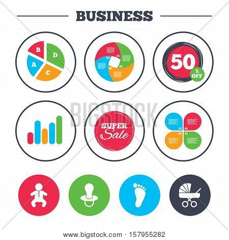 Business pie chart. Growth graph. Baby infants icons. Toddler boy with diapers symbol. Buggy and dummy signs. Child pacifier and pram stroller. Child footprint step sign. Vector
