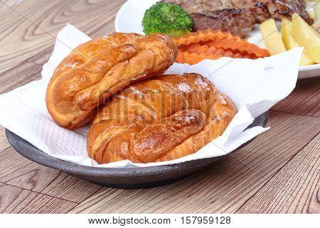 Close Up Of Crispy Fresh Margarine Croissant.