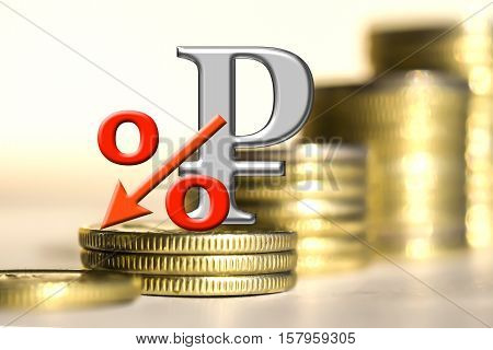 The symbol of the ruble and the percent of the background bars coins . The concept of changes in the exchange rate .