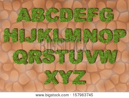 Grass alphabet depicting letters with spring green grass texture for education or ecological concept design. Eco font