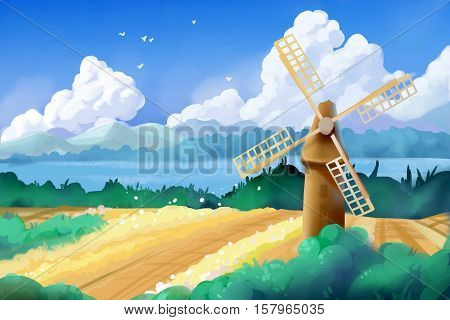 Fantastic Watercolor Style Painting: Wheat Fields and Windmill. Video Game's Digital CG Artwork, Concept Illustration, Realistic Cartoon Style Background