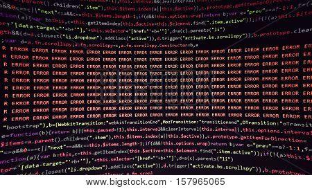 Error in program code listing, red crash on software developer coding screen showing Error keyword