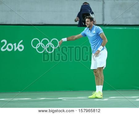 RIO DE JANEIRO, BRAZIL - AUGUST 13, 2016: Juan Martin Del Potro of Argentina celebrates victory after men's singles semifinal match of the Rio 2016 Olympic Games at Olympic Tennis Centre