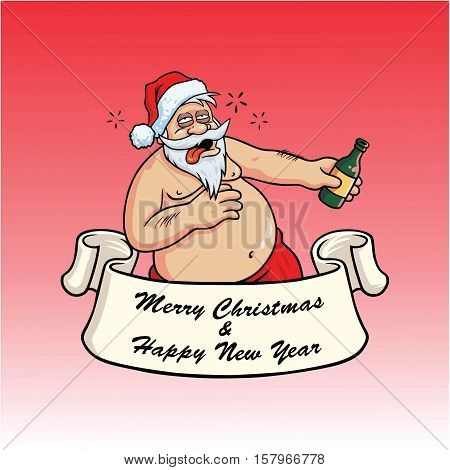 Drunk Santa Claus Drinking Booze. Christmas Greeting Card Vector on Red Background