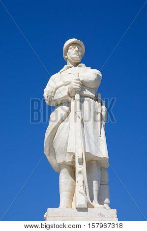 RETHYMNO, CRETE - SEPTEMBER 15, 2016 - Statue to the unknown soldier in Agia Stratiota Square (Agnostou Square) Rethymno Crete Greece Europe, September 15, 2016.