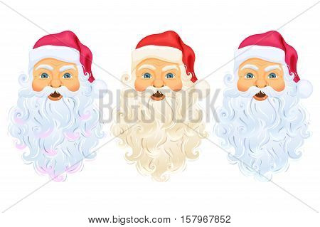 Santa Clause head with face, beard and hat. Santa Claus head and face cartoon Christmas character illustration. Santa Claus head with beard, hat isolated on white. Cute Christmas Father Frost face