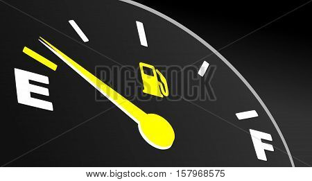 Yellow fuel gauge showing empty tank. Fuel indicator on black background.