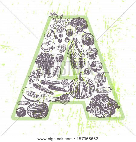 ink hand drawn fruits and vegetables that contain vitamin A
