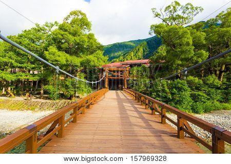 Kamikochi Wood Deck Kappa-bashi Bridge Centered H