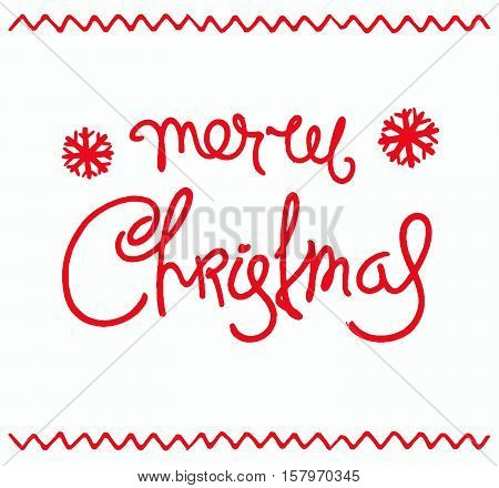 Christmas card . Hand-drawn greetings calligraphy composition