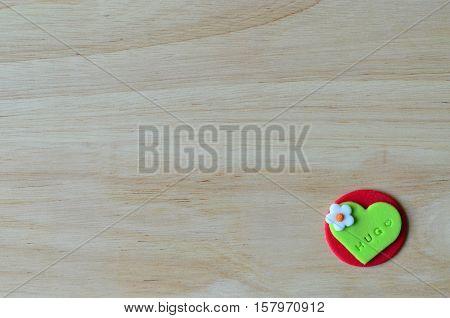 Hug On Sweet Gum Paste Heart For Valentine