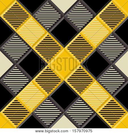 3D Lumberjack Tartan Seamless Pattern in Black Beige Yellow and Gray. Trendy volumetric illustration for wallpapers. Traditional Scottish ornament. Tartan plaid inspired background.