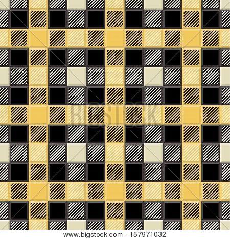 3D Lumberjack Tartan Seamless Pattern in Black Yellow Beige and Gray. Trendy volumetric illustration for wallpapers. Traditional Scottish ornament. Tartan plaid inspired background.