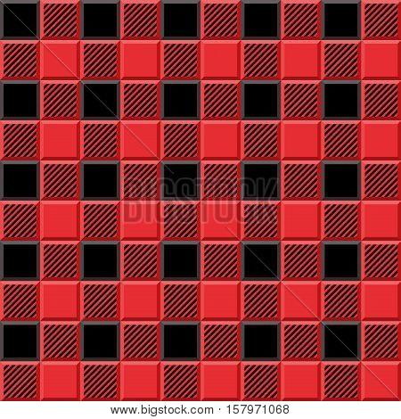 3D Lumberjack Tartan Seamless Pattern in Black Red and Gray. Trendy volumetric illustration for wallpapers. Traditional Scottish ornament. Tartan plaid inspired background.