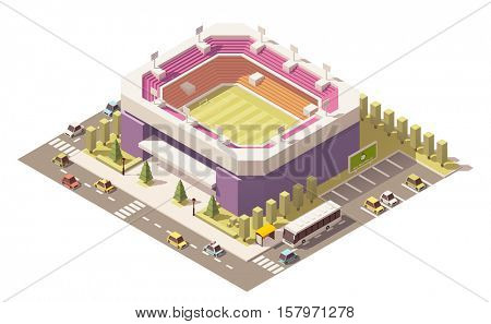 Vector isometric low poly football stadium