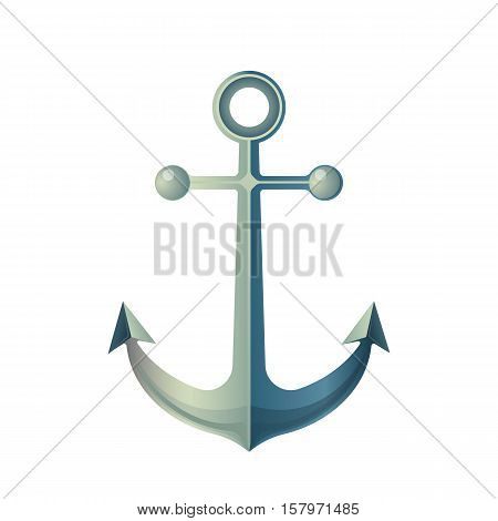 Anchor isolated on white. Made of metal device, used to connect vessel to bed of body of water to prevent craft from drifting due to wind or current. Marine anchor sign symbol in flat style. Vector