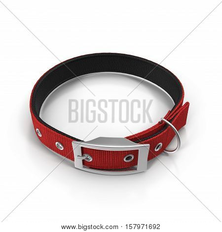 Dogs collar on white background. Red color. 3D illustration