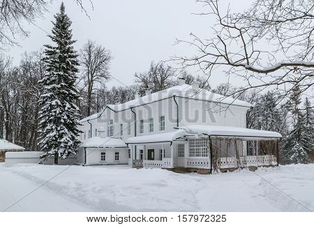 House of Leo Tolstoy in The State Memorial and Natural Preserve Museum-estate of Leo Tolstoy Yasnaya Polyana. Tula, Russia, winter, side view