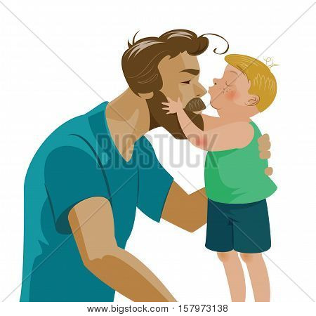 Son Kissing His Dad And Kisses On The Nose. Love And Tenderness. Hugging Beard