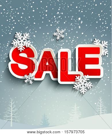 Sale inscription with snowflakes in paper style against the background of the winter forest, vector.