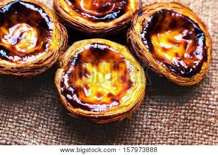 Egg Tart - Pasteis de nata typical Portuguese egg tart pastries sweet and delicious dessert