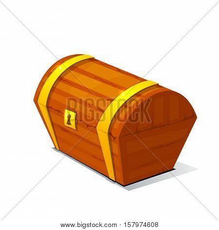 Closed treasure chest, pirate treasure, icon wealth vector illustration