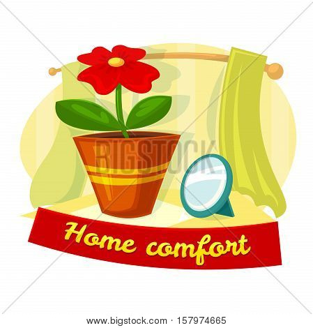 Home comfort concept design with flower in a pot, vector illustration