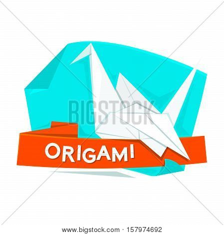Origami concept design, vectpr illustration with paper cranes