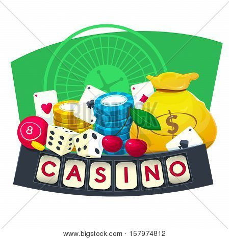 Casino concept design with different game elements, vector illustartion