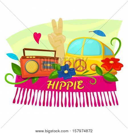Hippie concept design with record plaer and hippie van, colorful vector illustration