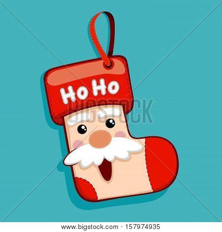 Stock vector of Santa Claus Christmas hanging socks decoration