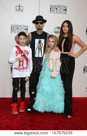 LOS ANGELES - NOV 20:  Landon Asher Barker, Travis Barker, Alabama Luella Barker, Atiana de la Hoya at the 2016 American Music Awards at Microsoft Theater on November 20, 2016 in Los Angeles, CA