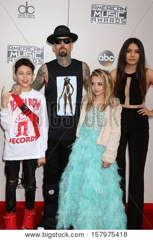 LOS ANGELES - NOV 20:  Landon Asher Barker, Travis Barker, Alabama Luella Barker, Atiana de la Hoya at the 2016 American Music Awards at Microsoft Theater on November 20, 2016 in Los Angeles, CA