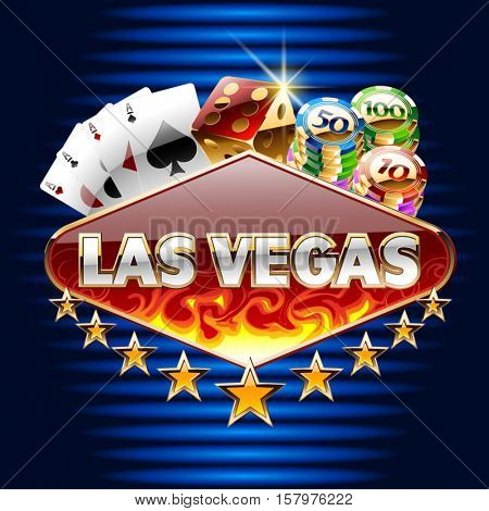 Vector casino card with text Las Vegas