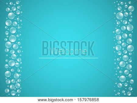 Water Drops On Blue Background With Welcome Text