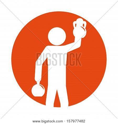 man silhouette weight kettlebell hand up vector illustration eps