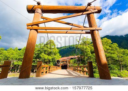 Kamikochi Kappa Bashi Bridge Wooden Post Entrance