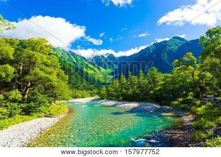Kamikochi Mount Hotaka-dake River Landscape H