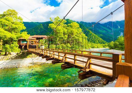 Kamikochi Angled Kappa Bashi Bridge Mt Hotaka View