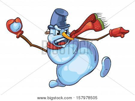vector illustration of cute snowman with red scarf throws snowball. Christmas character isolate on white background