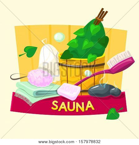 Sauna concept design, steam room vector illustration