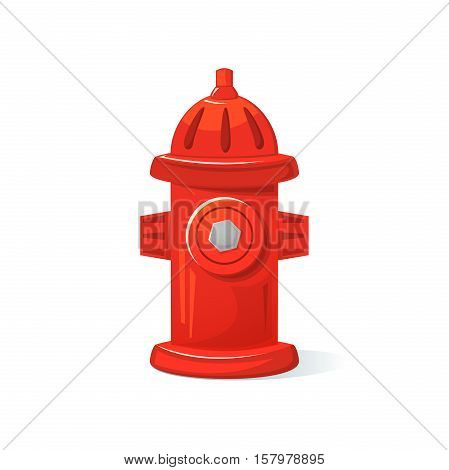 Icon red fire hydrant, isolated vector illustration