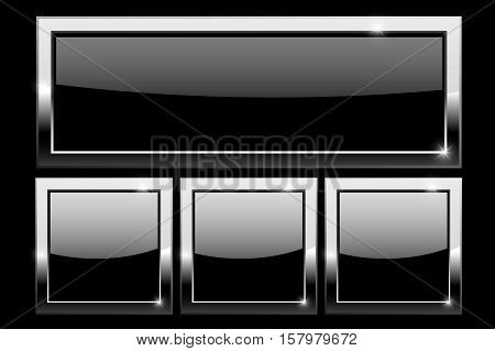 Black buttons with chrome frame on black background. Vector illustration