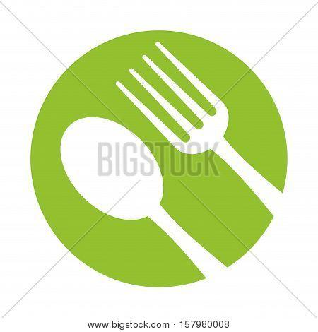 spoon fork utensils eat icon green background vector illustration eps 10