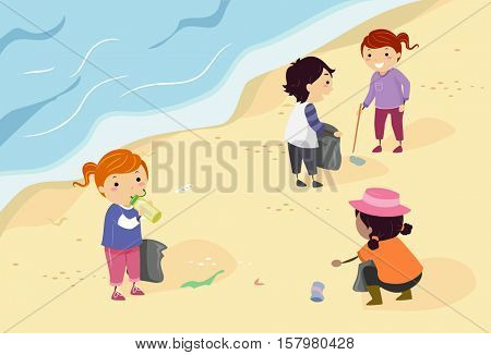 Stickman Illustration of a Group of Preschool Kids Picking Up Trash Scattered Along the Shore
